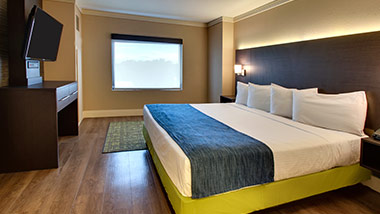 hotel suite with tv and king bed