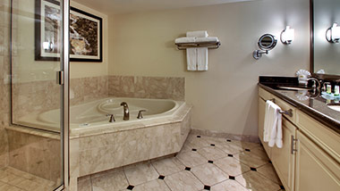 hotel bathroom with vanity, jacuzzi tub, and shower