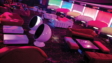 The seating area inside Boogie Nights night club at Hollywood Casino in St. Louis, Missouri.