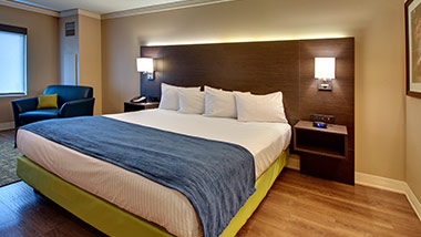 hotel room with king bed