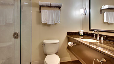 hotel bathroom with shower, vanity, toilet