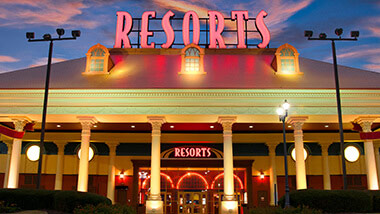 The entrance to Resorts Casino and Hotel in Tunica, Mississippi.