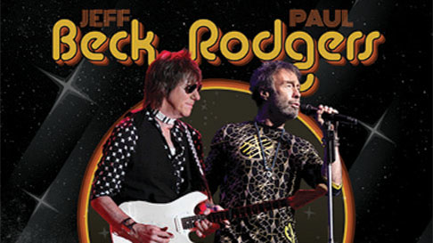 Combination photo showing musicians Jeff Beck at left and Paul Rodgers at right.