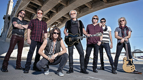 Members of the band Foreigner, which is performing at Hollywood Amphitheatre in St. Louis, Missouri.