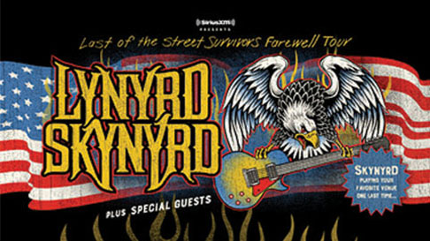 "American flag behind an eagle carrying an electric guitar and the words ""Lynyrd Skynyrd."""