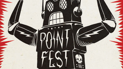 "A cartoon robot drawn in black with the words ""PointFest"" on its chest."
