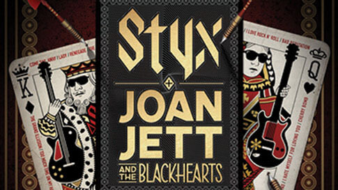 "King of spades and queen of hearts playing cards pictured on either side of the words ""Styx and Joan Jett and the Blackhearts."""