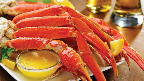 Crab Legs With Butter Sauce And Lemon At Eat Up Buffet At Hollywood Casino  In St