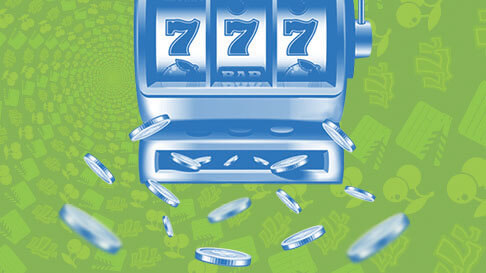 Coins fly out of a slot machine showing 777 that is graphically shaded all in blue on a green background covered in classic slot icons.