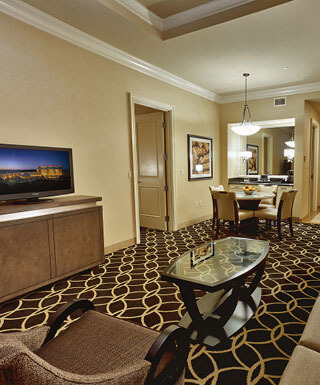 The main room of the Rodeo 2 Bay hotel suite at Hollywood Casino St. Louis hotel in Missouri.