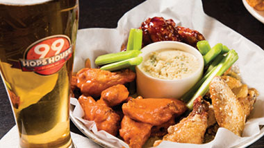 Beer and hot wings at 99 Hops House at Hollywood Casino in St. Louis, Missouri.