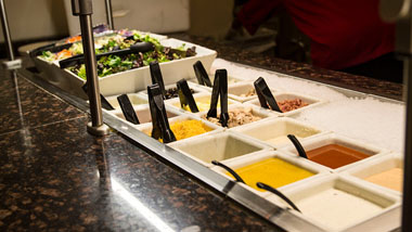 salad toppings at salad bar