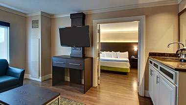 hotel suite with tv, wet bar, bedroom